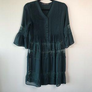 Hazel Green Lace Tunic Blouse Size Extra Small